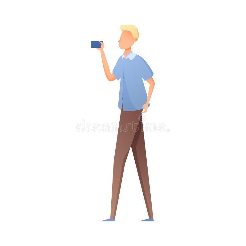 Den gulliga mannen för blont hår i blå skjorta gör selfie vektor illustrationer