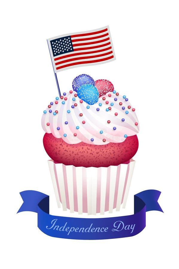 Den gulliga muffin med marmeladcremasocker pryder med pärlor amerikanska flagganinde stock illustrationer
