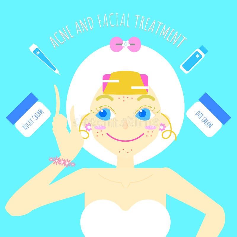 Den gulliga nätta flickaskönhetsmedlet utgör och för behandling för omsorg för skönhetbrunnsorthud den plana teckendesignen, den  stock illustrationer