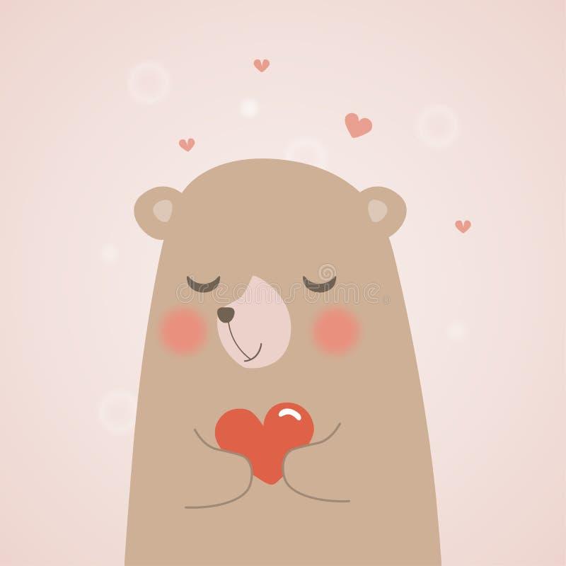 Den gulliga nallebjörnen rymmer en hjärta och en kram med förälskelse på mini- hjärtor bakgrund, vektortecknad filmillustration stock illustrationer