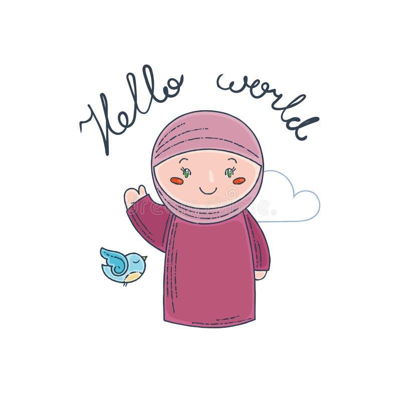Den gulliga och lyckliga flickan säger hälsningar stock illustrationer
