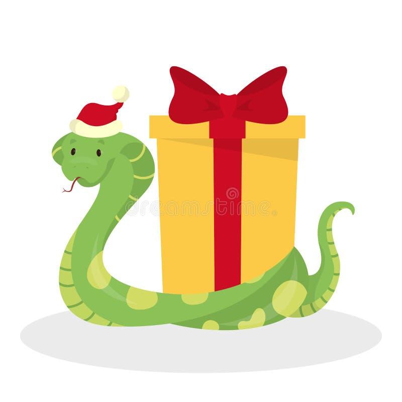 Den gulliga ormen i jultomtenhatt firar jul royaltyfri illustrationer