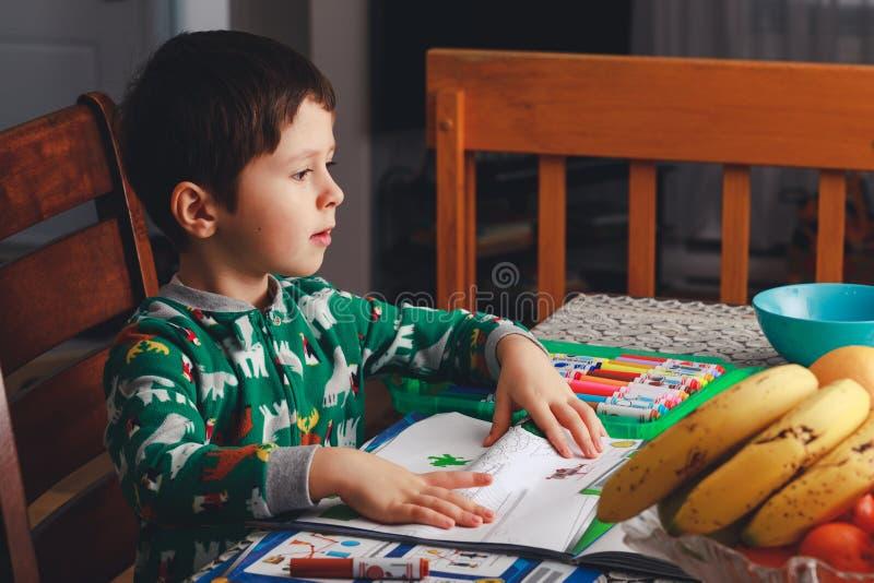 Den gulliga pojken drar och gör applikationer på albumark efter dinn royaltyfria foton