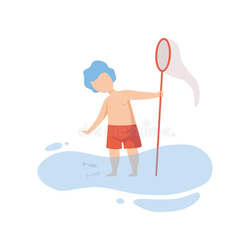 Den gulliga pojken som står i vatten och spelar med fisknät, ungen som har gyckel på stranden på sommar, semestrar vektorillustra vektor illustrationer