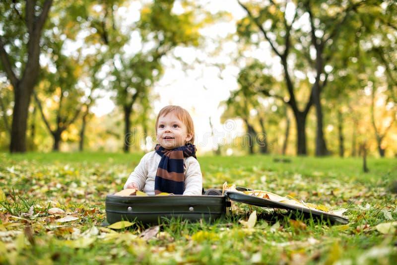 Den gulliga pysen i en stor resväska i hösten parkerar arkivfoto