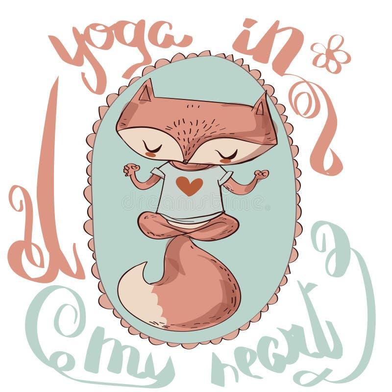 Den gulliga räven tycker om yogan royaltyfri illustrationer
