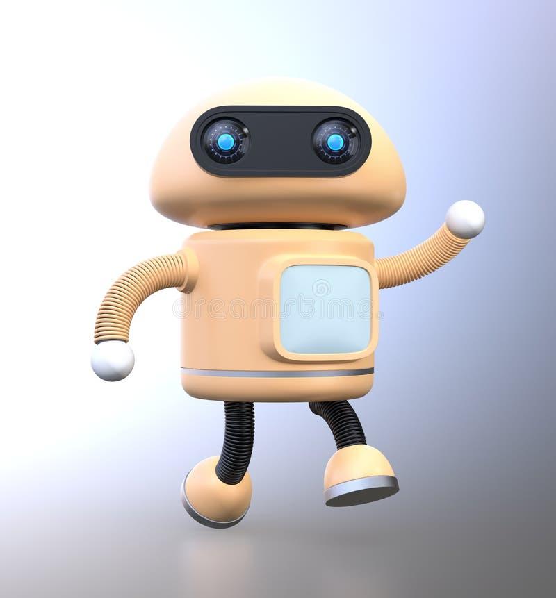Den gulliga robotdansen med hans hand lyftte up royaltyfri illustrationer