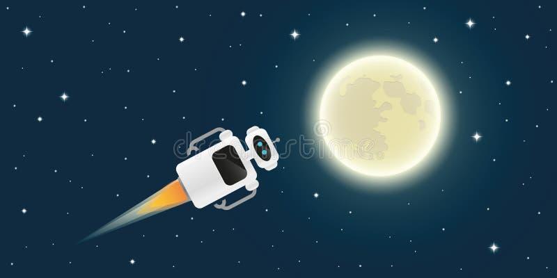Den gulliga roboten flyger fullständigt månen i utrymme royaltyfri illustrationer