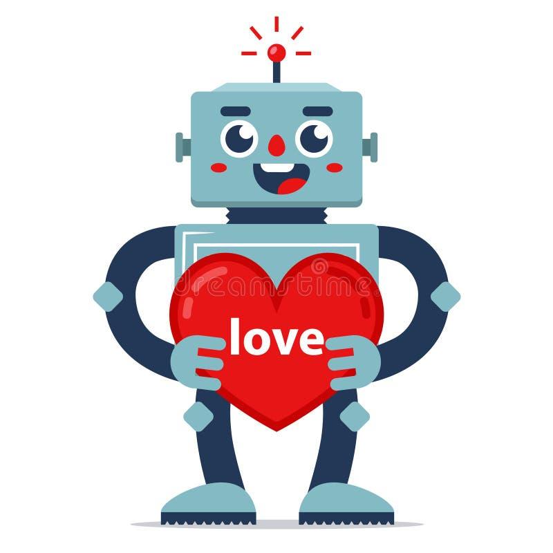 Den gulliga roboten ger valentin vektor f?r f?r?lskelse f?r f?rklaringbildjpg royaltyfri illustrationer