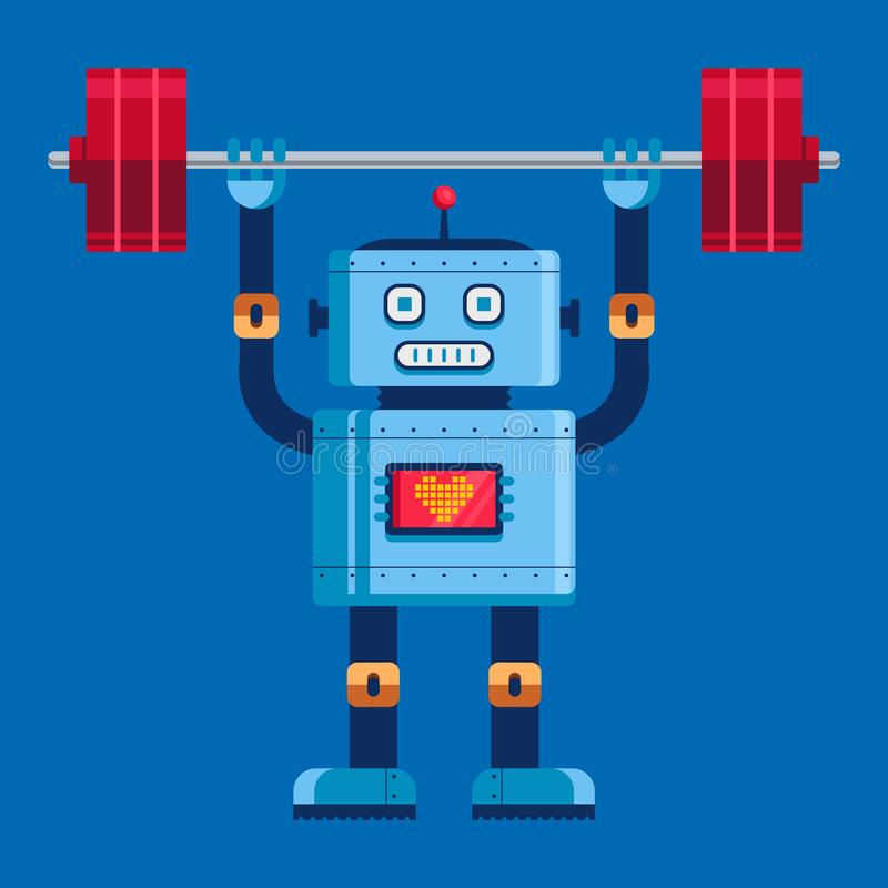 Den gulliga roboten lyfter den oavkortade tillv?xten f?r skivst?ngen vektor illustrationer