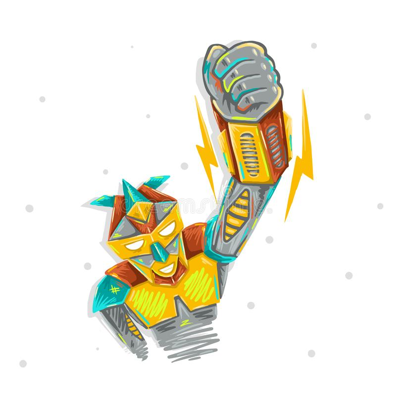 Den gulliga roboten som vinkar med det robotic illustrationdesigntrycket för ungetransformator, skissar handteckningen vektor illustrationer