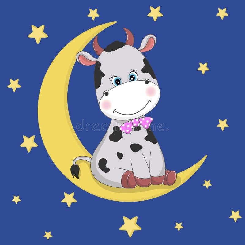 Den gulliga roliga tecknad filmkon sitter på månen vektor illustrationer