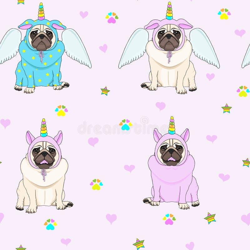 Den gulliga sömlösa modellen med enhörningmopshundkapplöpning, tafsar trycket, stjärnor och hjärtor royaltyfri illustrationer