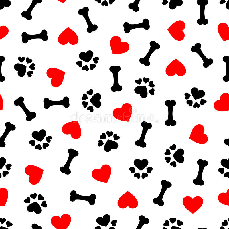 Den gulliga sömlösa modellen med hundbenet, tafsar trycket och röd hjärta, genomskinlig bakgrund stock illustrationer