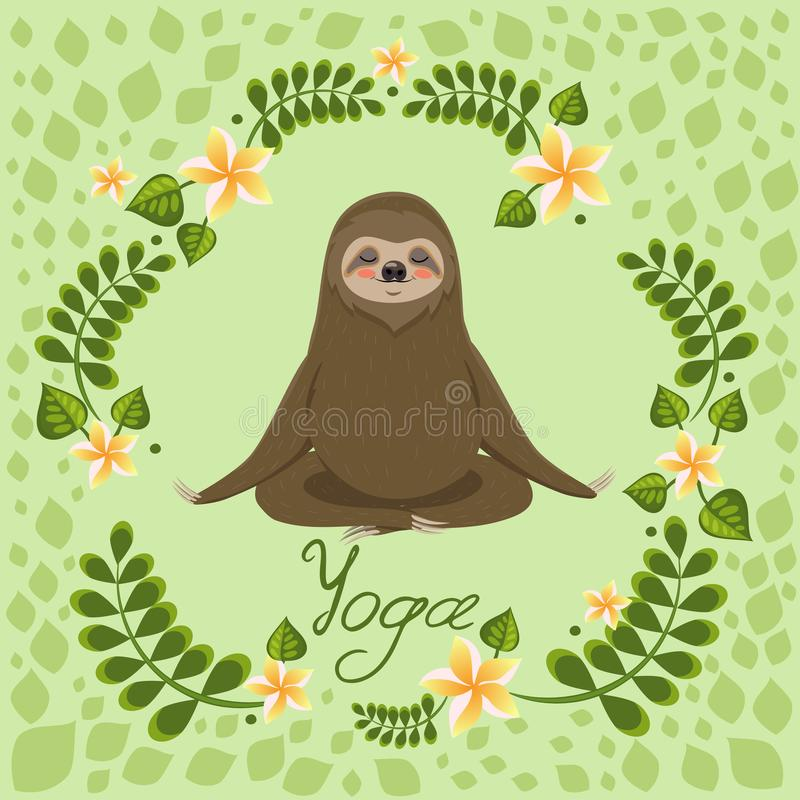 Den gulliga seng?ngaren i poserar av yogameditation Vektorh?lsningkort med yogainskriften stock illustrationer