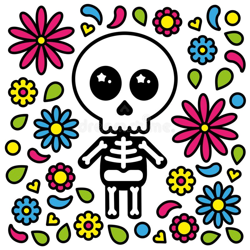 Den gulliga skelett- teckendagen av dödaen blommar bakgrund royaltyfri illustrationer