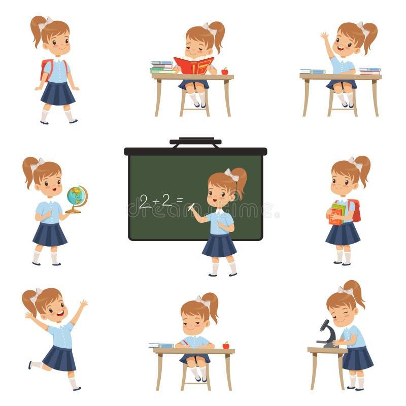 Den gulliga skolflickastudenten i likformig i olika aktiviteter ställde in, flickan på kurser av biologi, geografi, matematikvekt vektor illustrationer