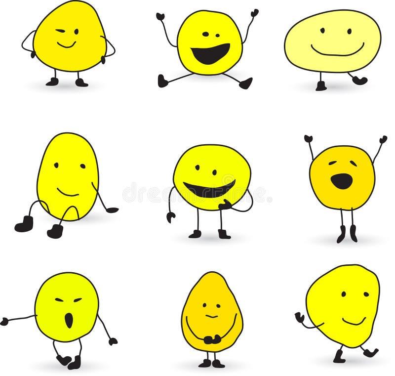 Den gulliga smileyen vänder mot tecken royaltyfri illustrationer