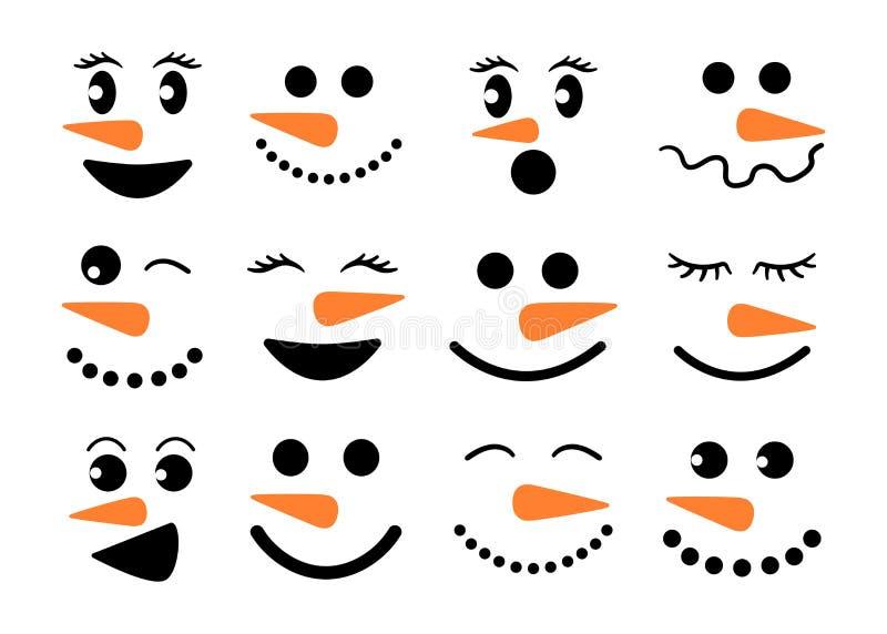Den gulliga snögubben vänder mot - vektorsamlingen Snögubbehuvud Isolerad vektorillustration stock illustrationer