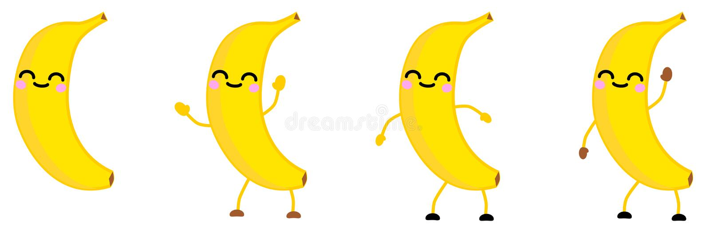 Den gulliga symbolen för frukt för kawaiistilbananen, ögon stängde sig och att le Version med lyftta händer, ner och att vinka vektor illustrationer