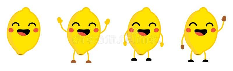 Den gulliga symbolen för frukt för kawaiistilcitronen, ögon stängde sig och att le med den öppna munnen Version med lyftta händer royaltyfri illustrationer