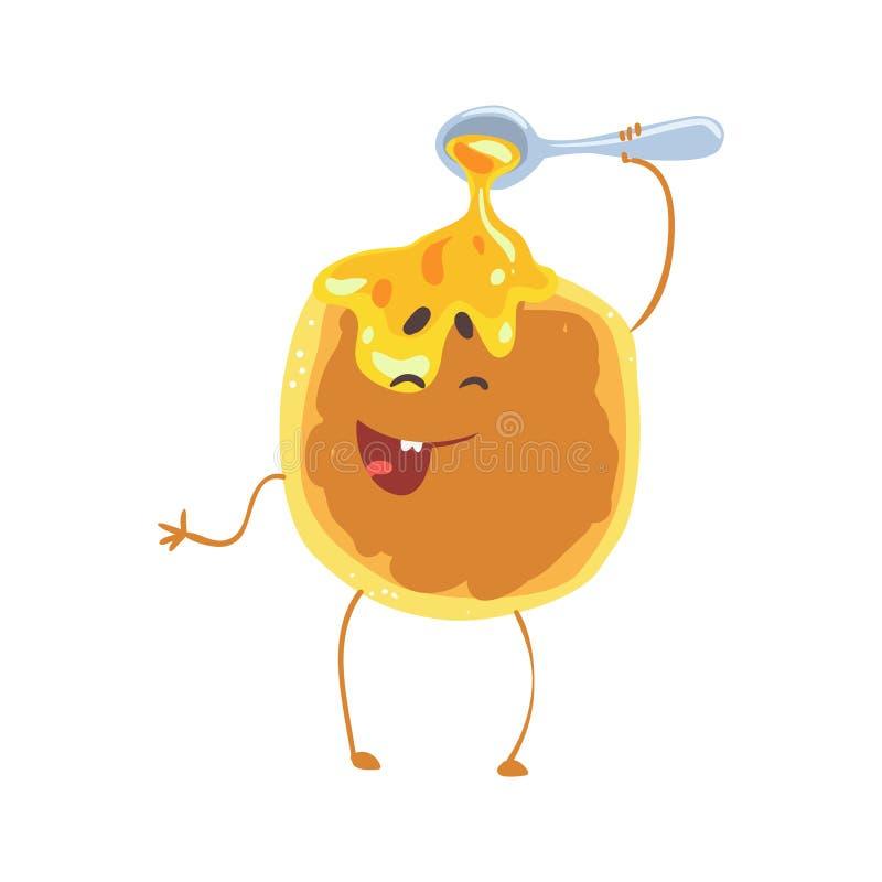 Den gulliga tecknad filmpannkakan med honung och smileyen vänder mot, den roliga illustrationen för snabbmatteckenvektorn vektor illustrationer