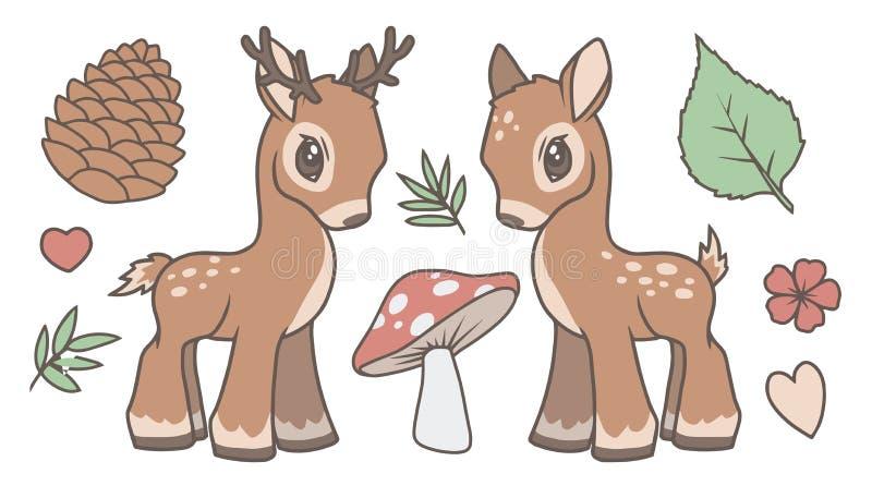 Den gulliga tecknad filmvektorsamlingen ställde in med hjortar, fullvuxen hankronhjort, och skogen gällde diagram som bladet, cha royaltyfri illustrationer
