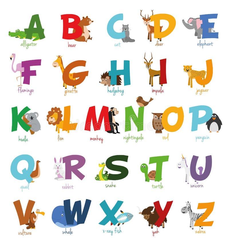 Den gulliga tecknad filmzoo illustrerade alfabet med roliga djur använd teknologi för ta för bilder för foto för lampa för alfabe vektor illustrationer