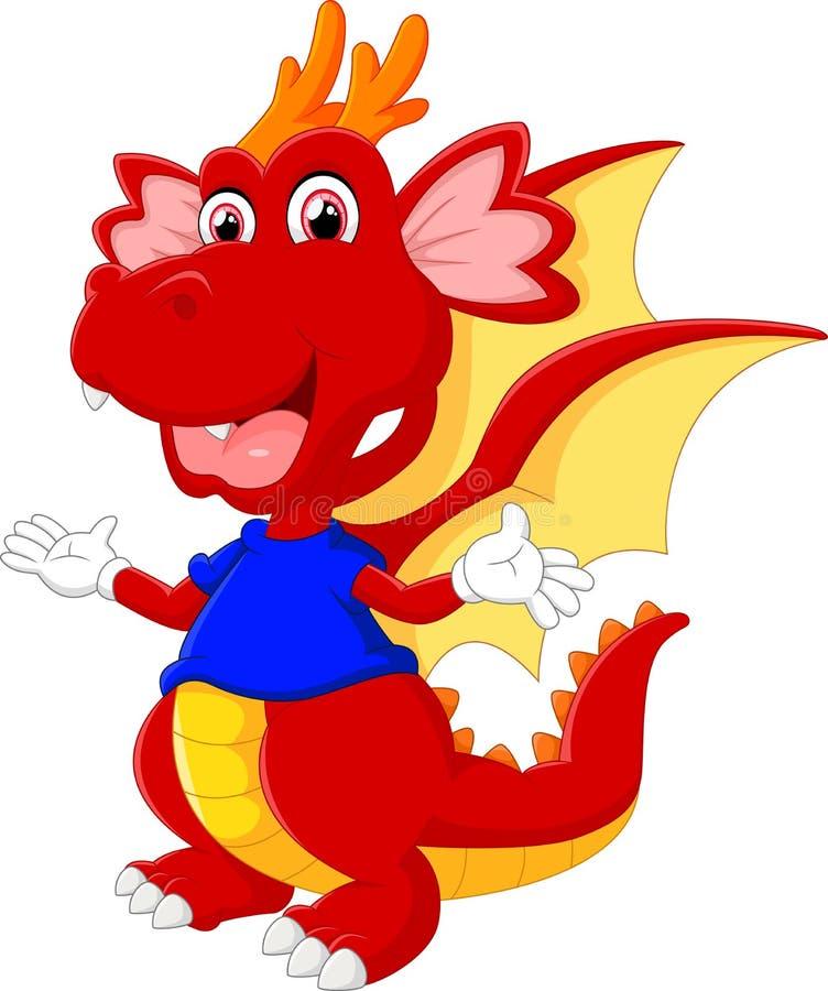 Den gulliga tecknade filmen behandla som ett barn draken stock illustrationer