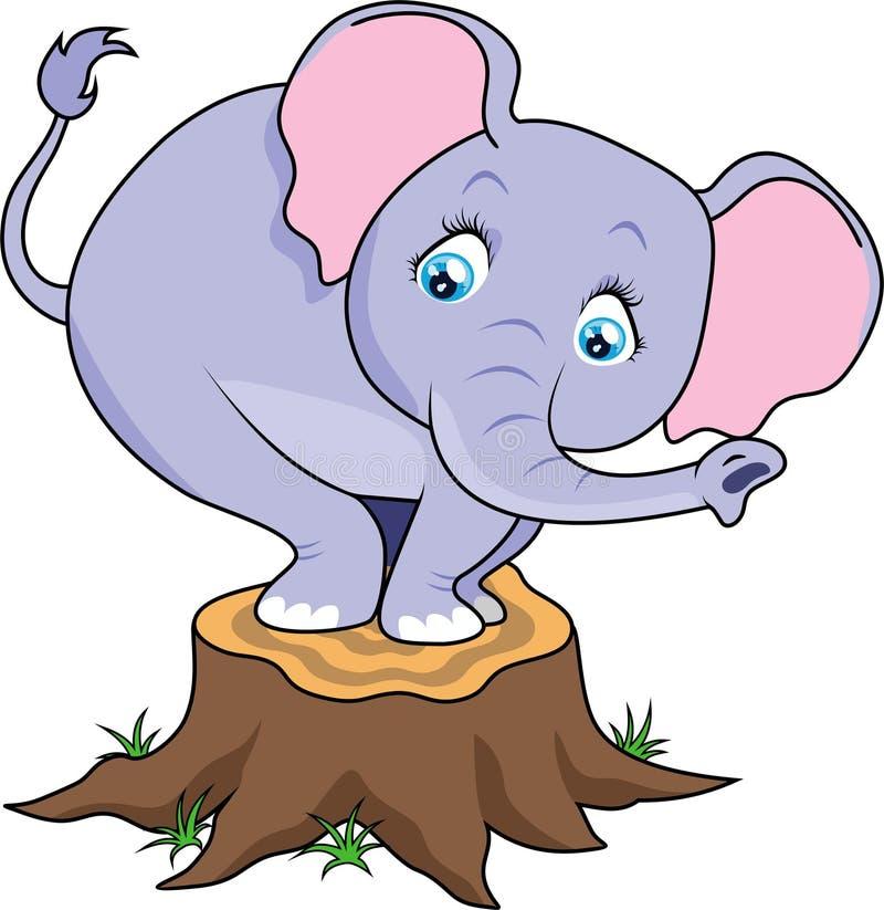 Den gulliga tecknade filmen behandla som ett barn elefanten som skrämmas på trädstubbe stock illustrationer