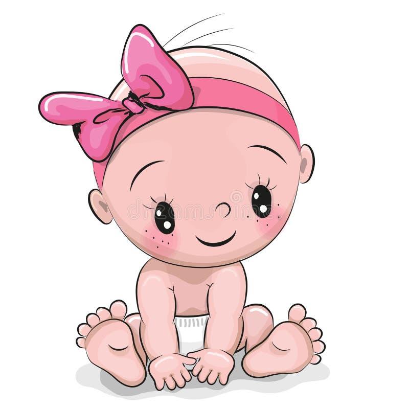 Den gulliga tecknade filmen behandla som ett barn flickan vektor illustrationer