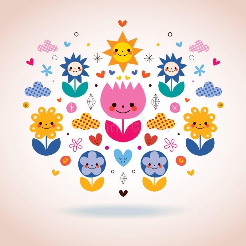 Den gulliga tecknade filmen blommar illustrationen royaltyfri illustrationer