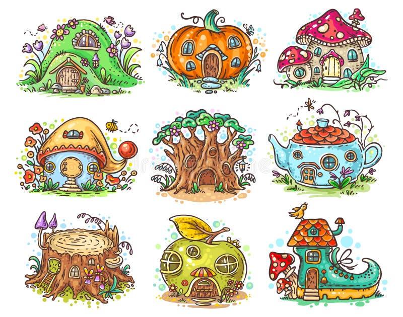 Den gulliga tecknade filmen elven, felika eller gnomhus i form av pumpa, trädet, tekannan, kängan, äpplet, champinjonen, stubbe stock illustrationer