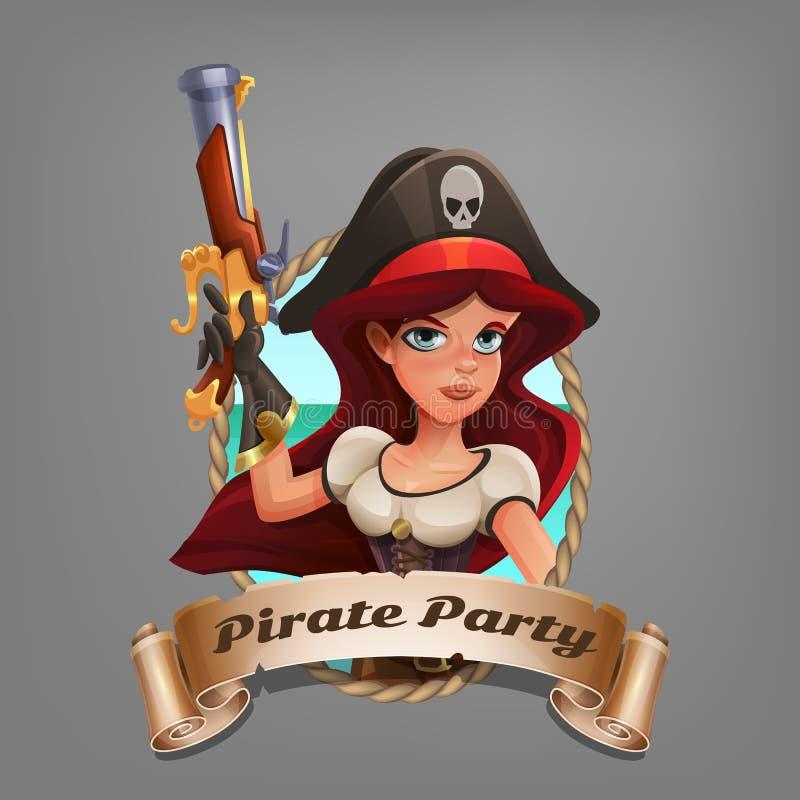 Den gulliga tecknade filmen piratkopierar flickan Illustrationen av piratkopierar partiet royaltyfri illustrationer