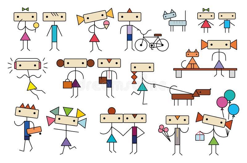 Den gulliga tecknade filmen stiliserade samlingen för tecken för tonårungefolk stock illustrationer