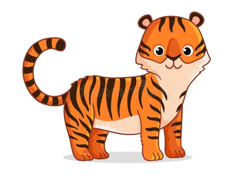 Den gulliga tigern står på en vit bakgrund royaltyfri illustrationer