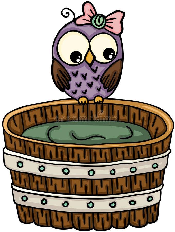 Den gulliga ugglan med trä badar för ett bad stock illustrationer