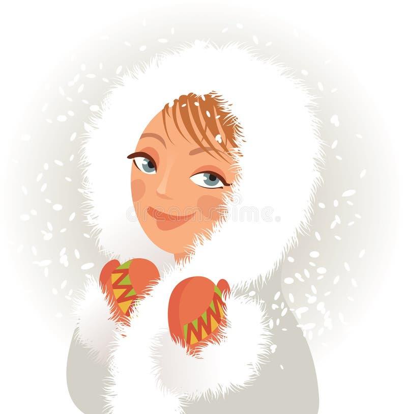 Den gulliga ung flicka i en pälsfodra täcker och mittens stock illustrationer