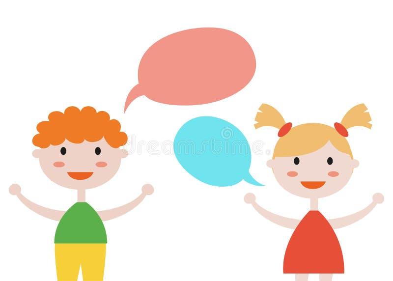 Den gulliga uppsättningen av ungar med anförande bubblar på vit bakgrund stock illustrationer
