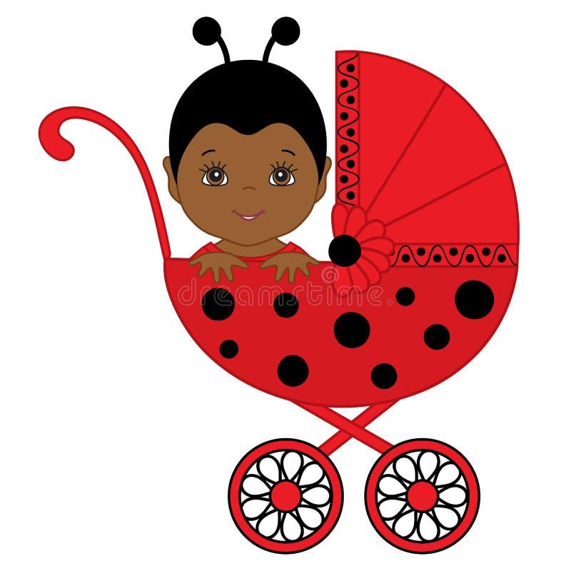 Den gulliga vektorafrikanska amerikanen behandla som ett barn flickan i nyckelpigadräktsammanträde i sittvagn royaltyfri illustrationer