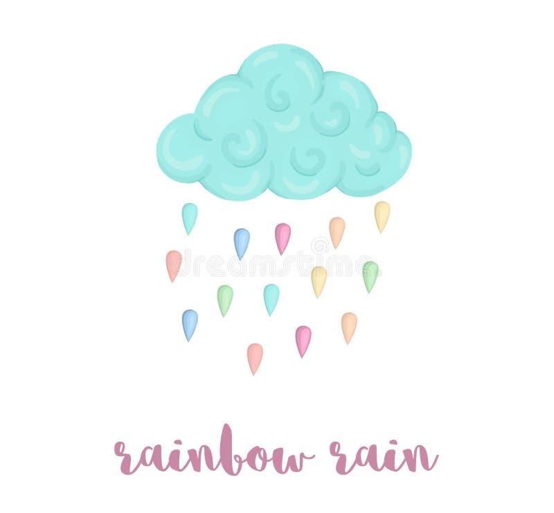 Den gulliga vektorillustrationen av vattenfärgstilmoln med regnbågen färgade regndroppar som isolerades på vit bakgrund Themed en royaltyfri illustrationer