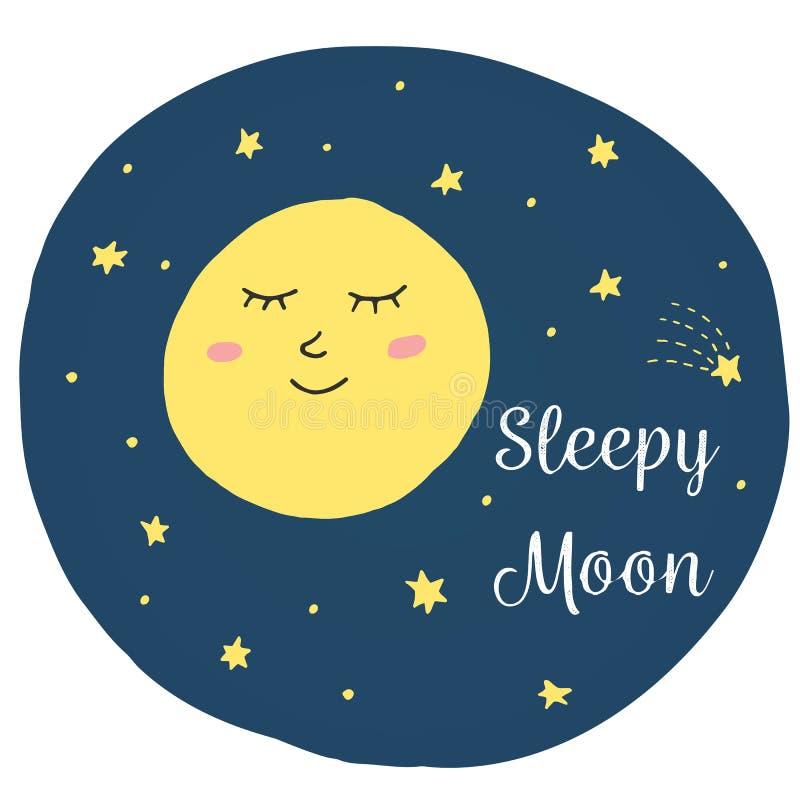 Den gulliga vektorillustrationen med behandla som ett barn sova månen royaltyfri illustrationer
