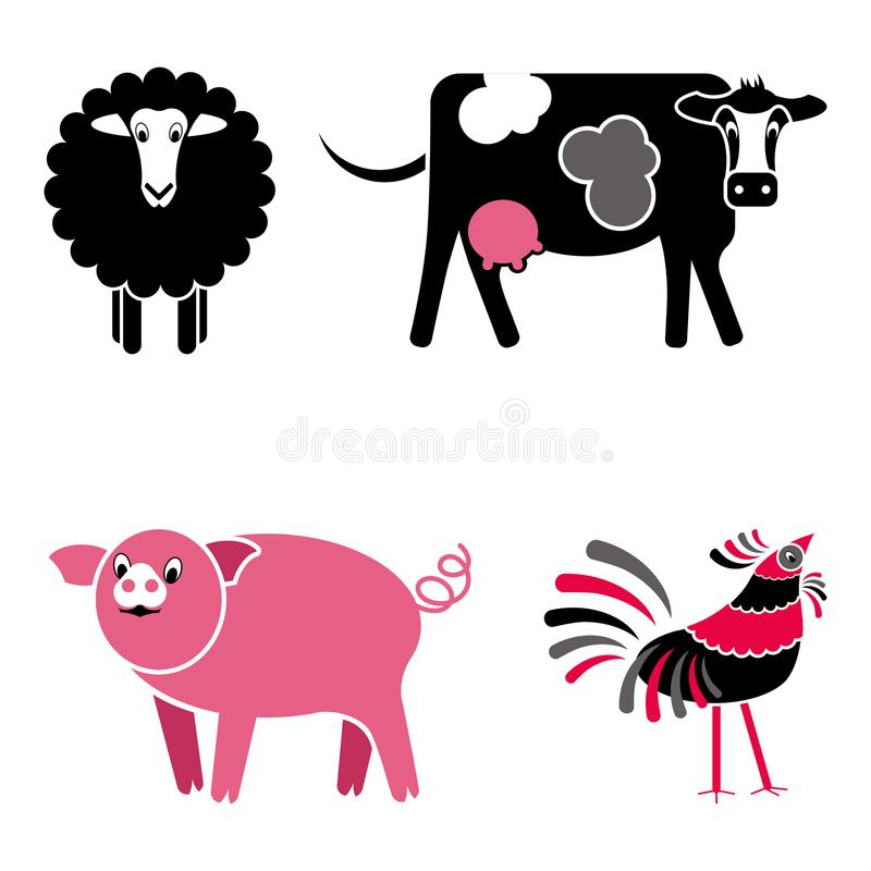 Den gulliga vektorn för svart- och rosa färglantgårddjur ställde in stock illustrationer