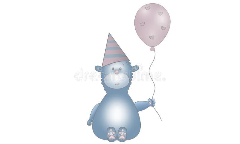 Den gulliga vektorn gjorde illustrationen av djur varelse för blå fantasi med ballongen, partihatten och hjärtor vektor illustrationer
