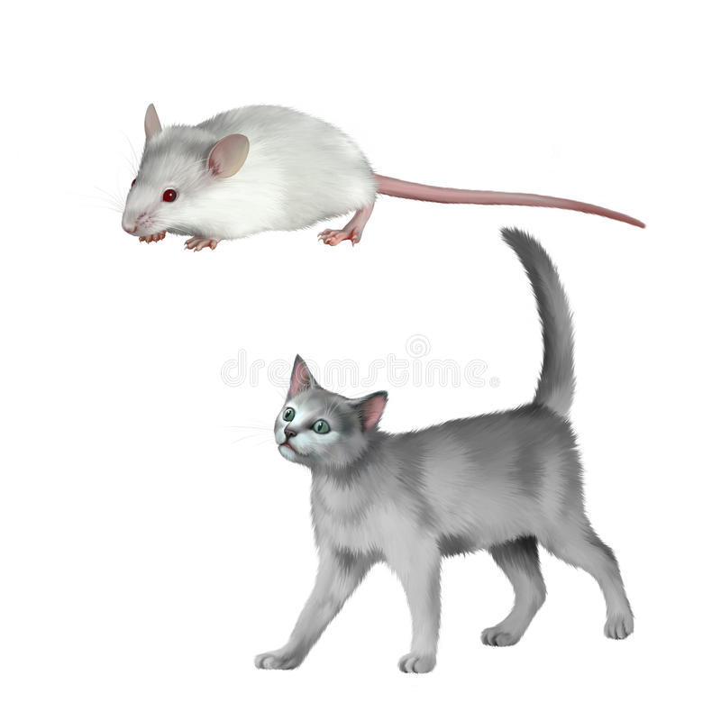 Den gulliga vita musen, den gråa kattungen går, den brittiska katten vektor illustrationer