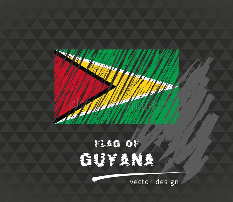Den Guyana flaggan, vektor skissar handen drog illustrationen på mörk grungebakgrund royaltyfri illustrationer