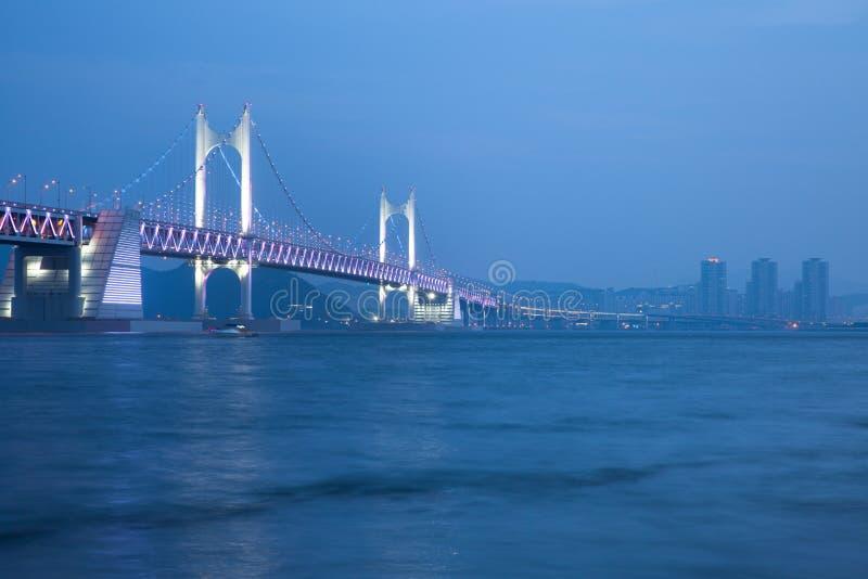 Den Gwangan bron, Busan, Sydkorea fotografering för bildbyråer