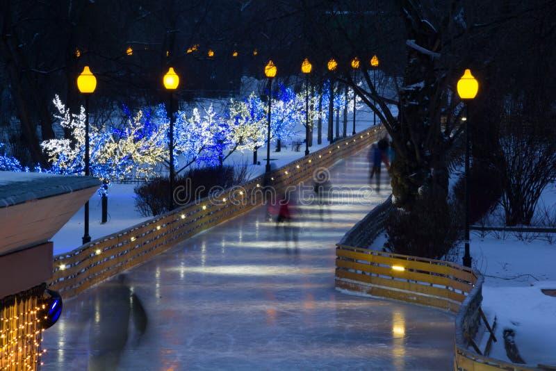 Den härliga åka skridskor avenyn i centrala moscow parkerar i vintern royaltyfri bild