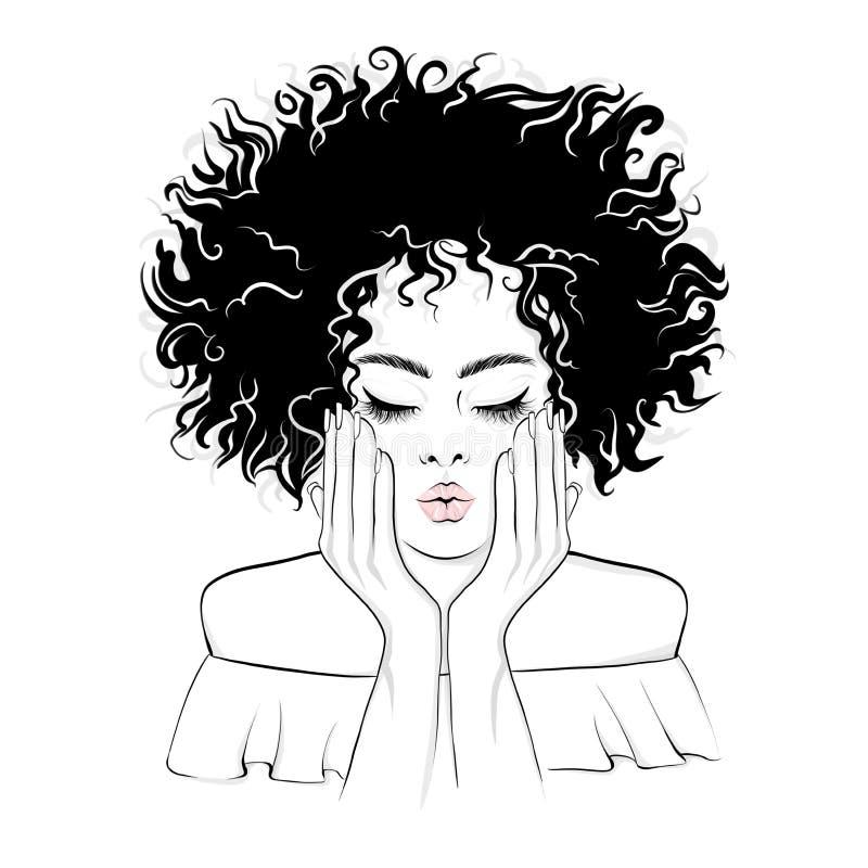 Den härliga afrikansk amerikankvinnan ger en kyss royaltyfri illustrationer