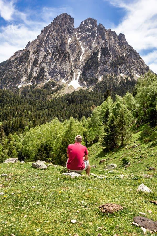 Den härliga Aiguestortes I Estany de Sant Maurici nationalparken av det spanska Pyrenees berget i Catalonia royaltyfri bild